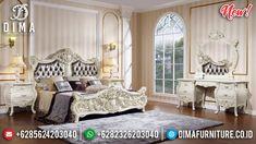 Jual Tempat Tidur Mewah Ukir Jepara Putih Duco Luxury Great Wood Perhutani TTJ-0959