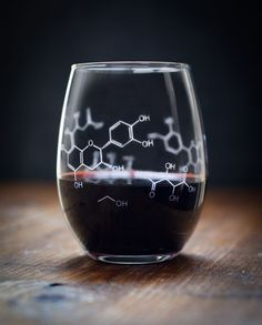 Wine Chemistry Stemless Glass Raise this glass when you pass your comps, to celebrate a successful thesis review, or over a bottle of wine shared with your lab partner. (Keep the bottle all to yourself and you'll be writing more creative lab reports in no time.)