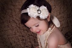 Shabby Chic Baby Headband-Cream Flower Headband-Infant Headband-Shabby Flowers-Newborn heaband-Christening Headband