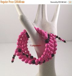 Christmas in July Hot Pink Beaded Bracelet, Gift for Her, Bohemian, Natural Stone, Cowgirl, Southwest, Native American, Tribal, Ethnic, West