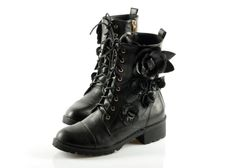 Short Boots with Black Rose and Lace Up