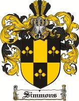 Simmons Coat of Arms / Simmons Family Crest gifts at www.4crests.com
