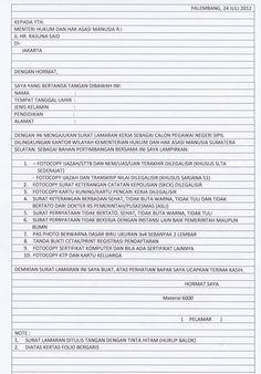 Surat Lamaran Kerja CPNS Kemenkumham
