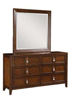 SLD Bayfield Medium Brown Wood Dresser and Mirror