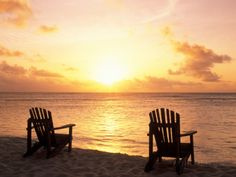 Empty Beach Chairs at Sunset, Denis Island, Seychelles Photographic Print by Sergio Pitamitz at AllPosters.com