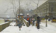 Eugène GALIEN-LALOUE - Drawing-Watercolor - Quai du Louvre sous la neige