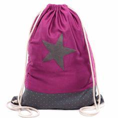 Pink + Grau + Stern = Lieblingstasche! Der handgenähte Turnbeutel von TrachtenBrummsel passt zum Festival-Outfit genausogut wie zum Dirndl.