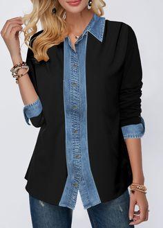 Shop Womens Fashion Tops, Blouses, T Shirts, Knitwear Online Umgestaltete Shirts, Collar Shirts, Button Up Shirts, Fashion Sewing, Diy Fashion, Fashion Outfits, Womens Fashion, Fashion Hacks, Fashion Tips