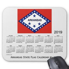 2019 Arkansas State Flag Calendar by Janz Mouse Pad - birthday diy gift present custom ideas