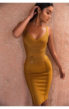 'Belice' Vestido Ambar con Cinta Atada
