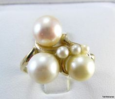 Vintage 14k Yellow Gold Genuine Pearl Cluster Ring