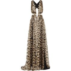 Roberto Cavalli Cutout leopard-print silk-chiffon gown ($1,735) ❤ liked on Polyvore featuring dresses, gowns and leopard print