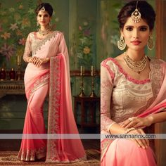 Precise magnificence will come out from your dressing design with this pink faux georgette shaded saree. The enticing embroidered and patch border work a significant characteristic of this attire. Comes with matching blouse. (Slight variation in color, fabric & work is possible. Model images are only representative.)