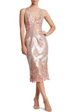 Main Image - Dress the Population Angela Sequin & Lace Midi Dress