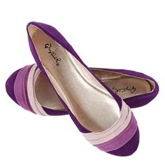 25f787f484e6 Qupid Purple Velvet Color Block Ballerina Flats and Womens Fashion Clothing
