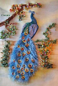 The Proud Peacock: Ribbon Embroidery at it's finest-this dazzling needlework of art  is by Inessa Timonina