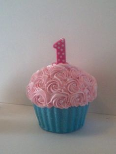 Rosette Giant First Birthday Fake Cupcake Photo Prop for Little Girls with Pink Rosettes Pearl Centers and Glittery Aqua Liner on Etsy, $49.99
