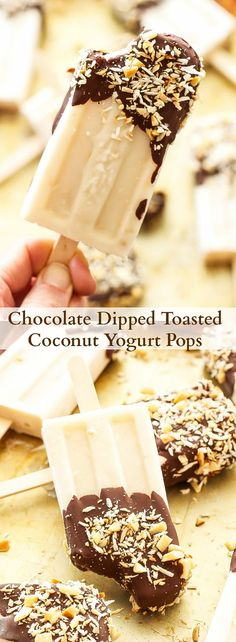 Chocolate Dipped Toasted Coconut Yogurt Pops