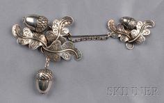 Large Victorian Sterling Silver Acorn Brooch, George Unite, 1848-49