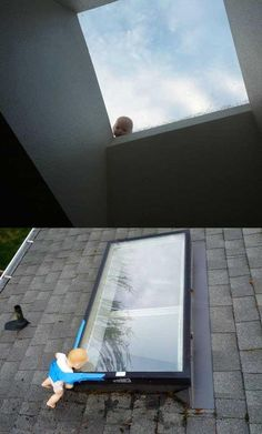 Creepy baby prank Perhaps use a mask  If the house has skylights......