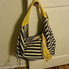 Blue and white shoulder bag Great condition blue and white with yellow accents hobo bag,  barely used Bags Shoulder Bags