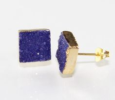 For Hot Sale Exclusive Blue Sugar Druzy Gold Plated Stud Earring Jewelry Dh-6812 #Handmade #Stud #CasualParty