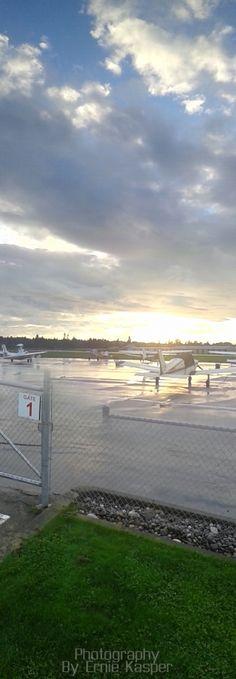 #langleyregionalairport #planes #clouds #sunset #grass #beautiful