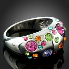 Multi Color Swarovski Ring - This would be pretty cool with slightly fewer stones and one main stone in the middle...possibly a little more variety in color too.