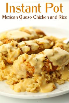 Instant Pot Mexican Queso Chicken and Rice--flavorful, tender and moist chicken on top of seasoned rice and drizzled with a cheese sauce. #instantpotrecipes Instant Pot Pressure Cooker, Pressure Cooker Recipes, Pressure Cooking, Fancy Dinner Recipes, Instant Pot Dinner Recipes, Dinner Ideas, Mexican Dishes, Mexican Food Recipes, Mexican Pizza