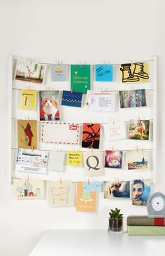 Create your own unique photo display with art, illustrations, photos and more! The Hangit Photo Display by Umbra twine cords and clips allow for any keepsake to be documented and shown off in a simple and memorable way. Creative Wall Decor, Creative Walls, Exposition Photo, Photo Wall Decor, Polaroid Wall, Slanted Ceiling, Rose Cottage, Unique Photo, Photo Displays