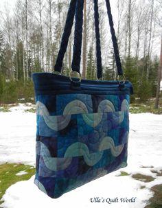 Drunkard's path quilt bag by Ulla's Quilt World.
