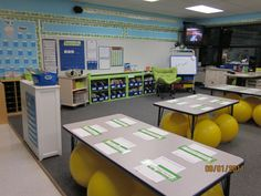 """This teacher uses only yoga balls for chairs in her First grade classroom. She gives them """"yoga breaks"""" throughout the day and she has seen improvements in behavior and learning as well as core strength of the children. Classroom Setting, Classroom Setup, Classroom Design, Classroom Organization, Classroom Management, Behavior Management, Classroom Discipline, Classroom Arrangement, Classroom Posters"""