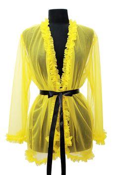 #Vita Can Can #Lingerie 2013 Collection  www.alejandravitatienda.com  bridal . lingerie  novias . lencería  Vita #Lenceria Can Can Colección 2013 #Kimono #yellow #amarillo #ruffles