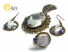 Snow Queen 1 set with white opal by Invent-Art