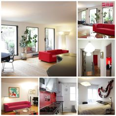 #Bold #modern #red #furnished 3-bedroom #home in the #Marais.