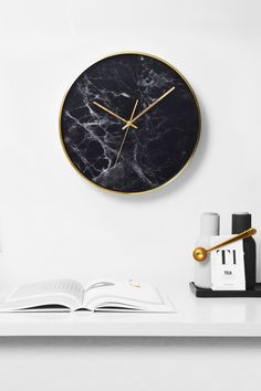 Structure Black Marble Clock with Golden Case by Cloudnola | From Cloudnola.me
