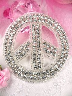XR64 Crystal Clear Silver Beaded Peace Sign by gloryshouse on Etsy, $7.99