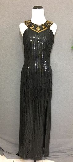 29383dcf7b6 Robert Anthony Vintage Black Sequin Dress 12 Stretch Gold Trophy Beaded  Neckline