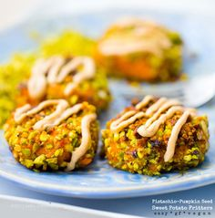 Ahhh, the flavors of fall - Smashed Sweet Potato Fritters, Pistachio-Pumpkin Seed Crusted
