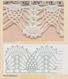 Check out the diagrams and learn to make more than 150 points, (crochet edgings) with images. There are several crochet borders that can be applied in various crochet projects. Choose your favorites… Crochet Border Patterns, Crochet Lace Edging, Crochet Motifs, Crochet Diagram, Crochet Chart, Thread Crochet, Crochet Trim, Filet Crochet, Love Crochet