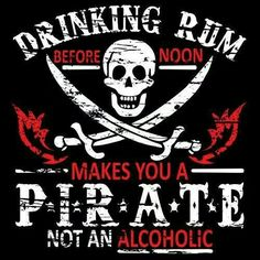 Drinking Rum - Pirate / Funny Humor Black T-Shirt / Sizes- Disney Parks, Walt Disney World, L Elf, Black Sails, Pirate Life, Pirate Woman, Jolly Roger, Pirates Of The Caribbean, Funny Tshirts