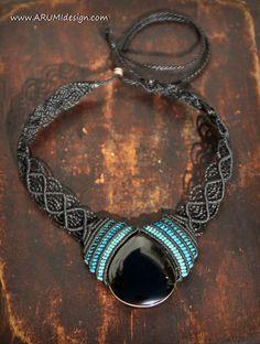 Elegant FIBER CHOKER with black OBSIDIAN stone by ARUMIdesign