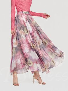 88817f3b6 Chiffon Floral Print Long Women's Maxi Skirt