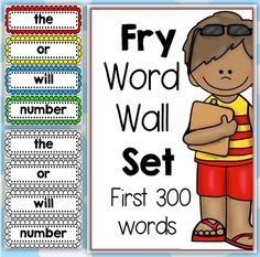Fry Word Wall Set First 300 Bundled   This file includes Fry lists: First 100 Second 100 Third 100  Each list has includes a word wall, assessment (checklist) page and overview page. The file also comes in black and white printables to save on ink.