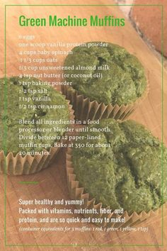 21 Day Fix 80 Day Obsession Healthy Clean Eating Quick an… Green Machine Muffins! 21 Day Fix 80 Day Obsession Healthy Clean Eating Quick and Easy Healthy Breakfast Casserole, Healthy Muffins, Healthy Snacks, Healthy Eating, Healthy Recipes, 21dayfix Recipes, Easy Recipes, Diet Recipes, Snack Recipes