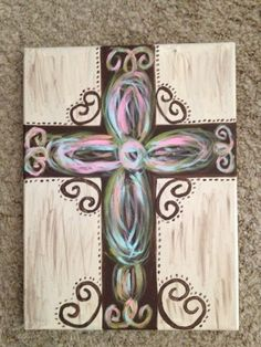 Items similar to Handpainted Canvas Rustic Cross 11 X 14 on Etsy Cross Canvas Paintings, Canvas Art, Canvas Ideas, Diy Canvas, Crosses Decor, Painted Crosses, Wine Painting, Rock Painting, Rustic Cross
