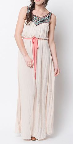 Caralase Ivory Abstract Accent Tie-Waist Maxi Dress