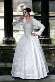 White Silk Elizabethan Wedding Gown With 3500 by KatmarenDesigns