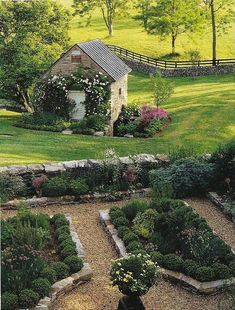 Formal garden with stone edged beds. Oh my dream garden. Along with the screen door I also pinned.