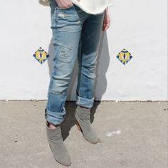 Just out of the box... the Emerson Long Boyfriend by @ctznsofhumanity ($280.00) has arrived! The light wash with distressing look perfect with heels or boots this season.
